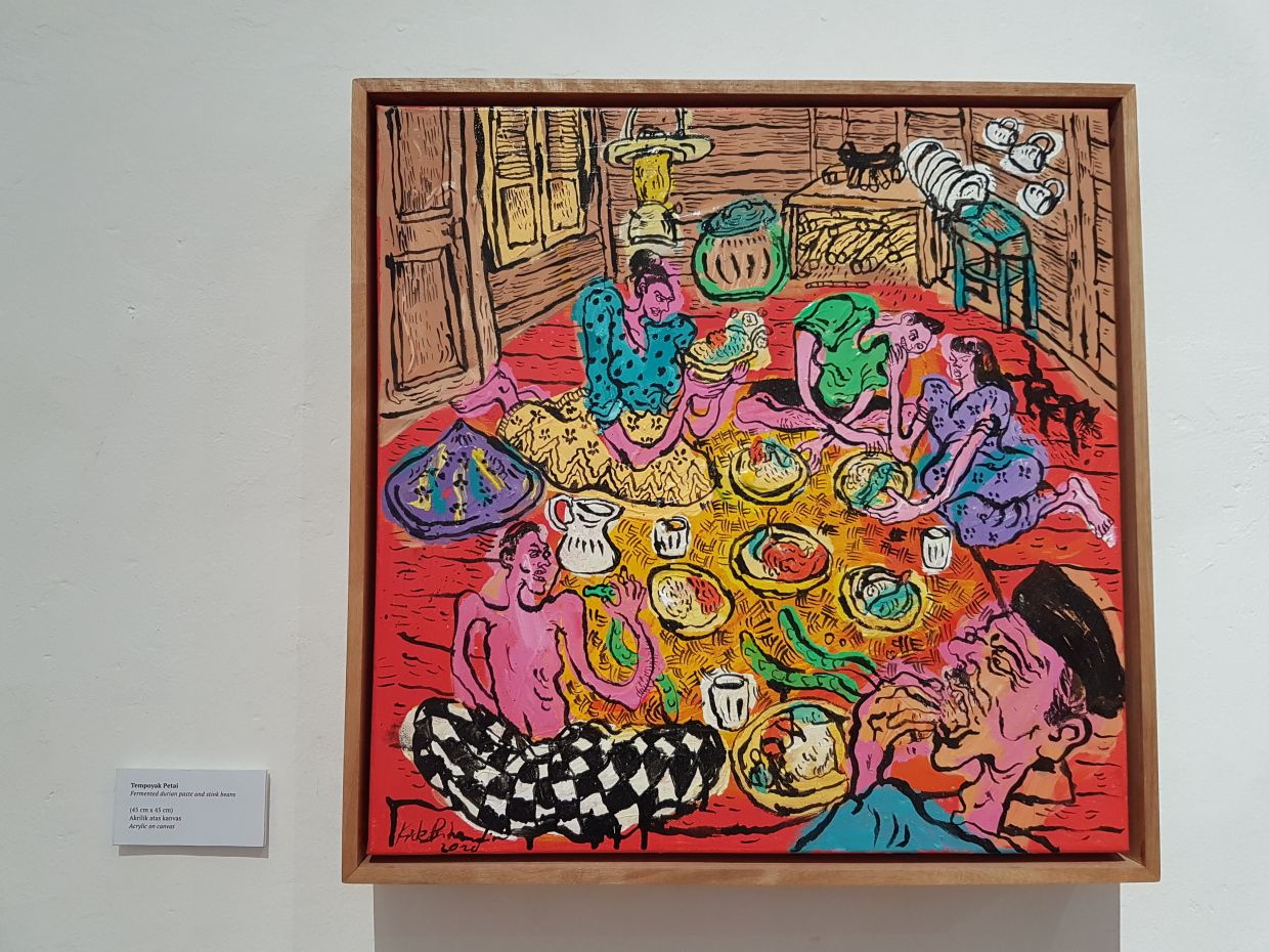 A work titled 'Tempoyak Petai' (acrylic on canvas), which pays tribute to a Malay dish featuring fermented durian paste and stink beans. Photo: Daryl Goh