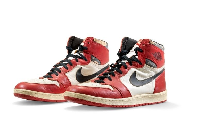The red, white and black Air Jordan 1 High sneakers are expected to fetch a high price in the ongoing auction. Photo: AFP