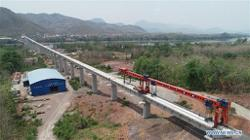 Laos-China railway bed in place, over 20 per cent track laid