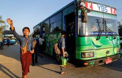 Number of public transport commuters surges in Myanmar's Yangon in August
