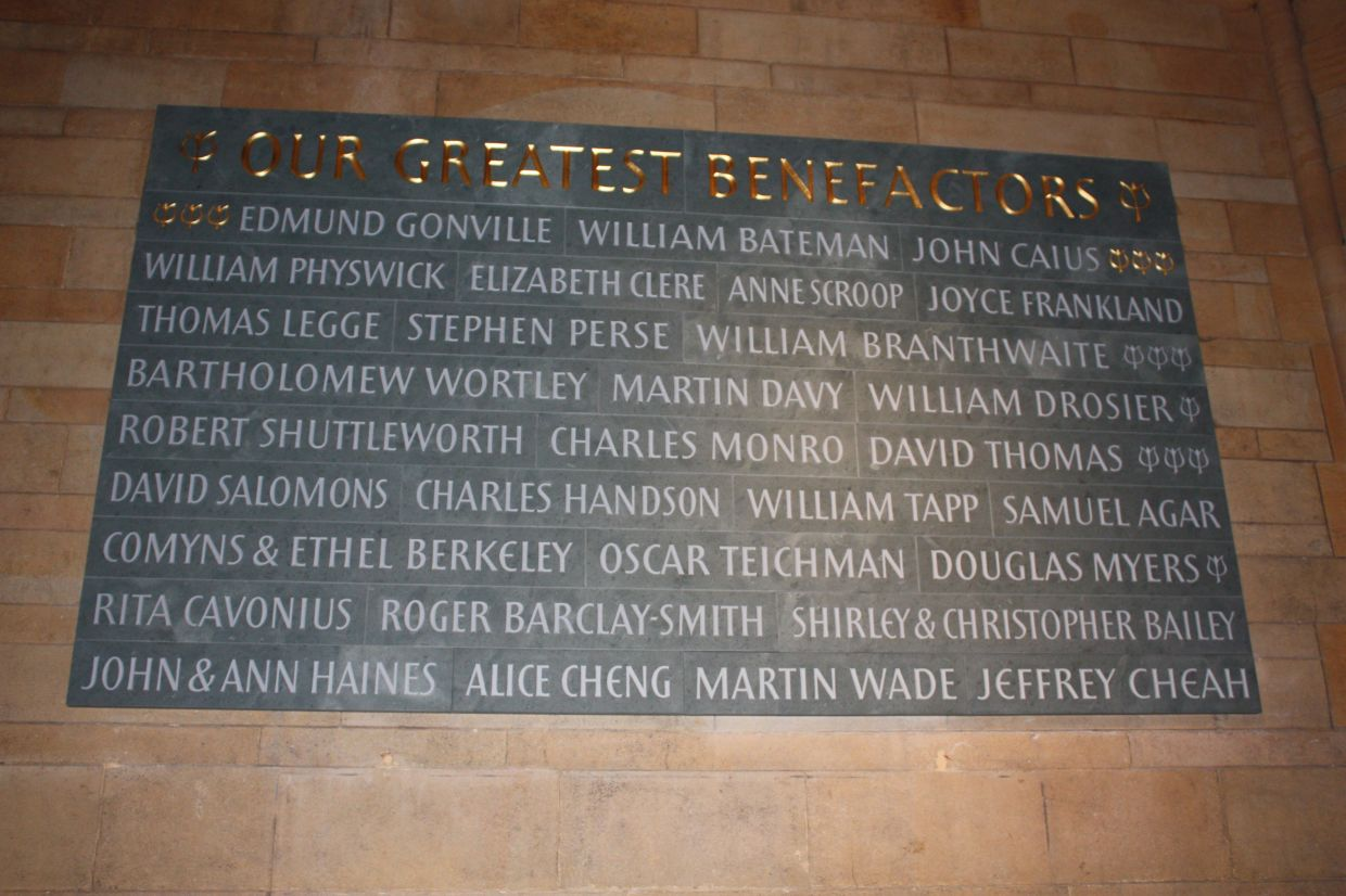 The Benefactors Wall at Cambridge College.
