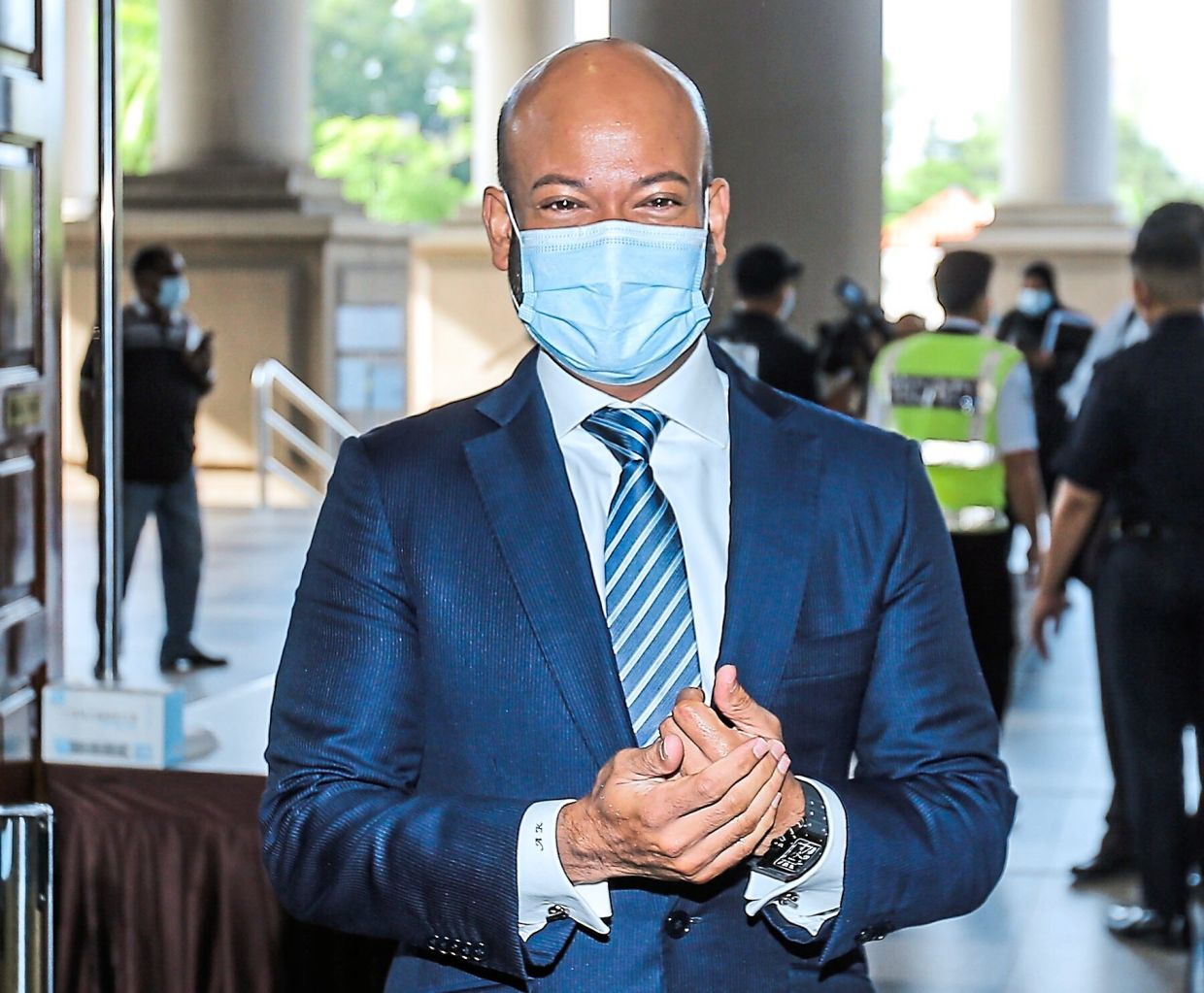 Court date: Arul Kanda arriving at the Kuala Lumpur High Court where he faces a charge of abetting Najib.