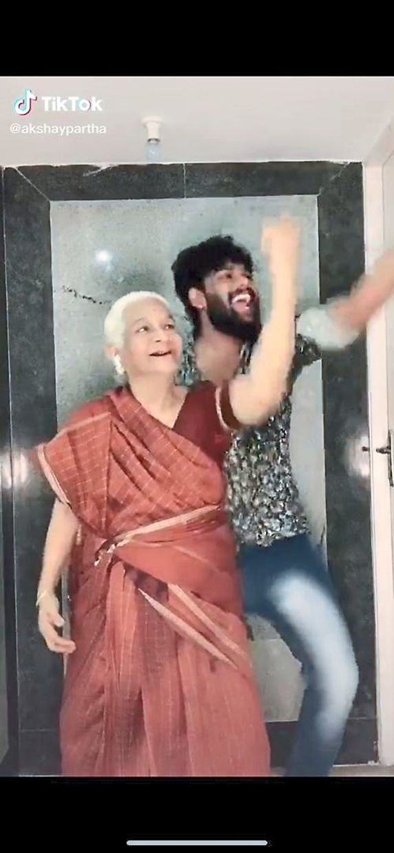Akshay Partha and his grandmother, Chellum, dancing it out together. Photo: TikTok