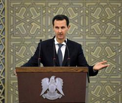 Syria Assad stops speech due to low blood pressure before resuming - state TV
