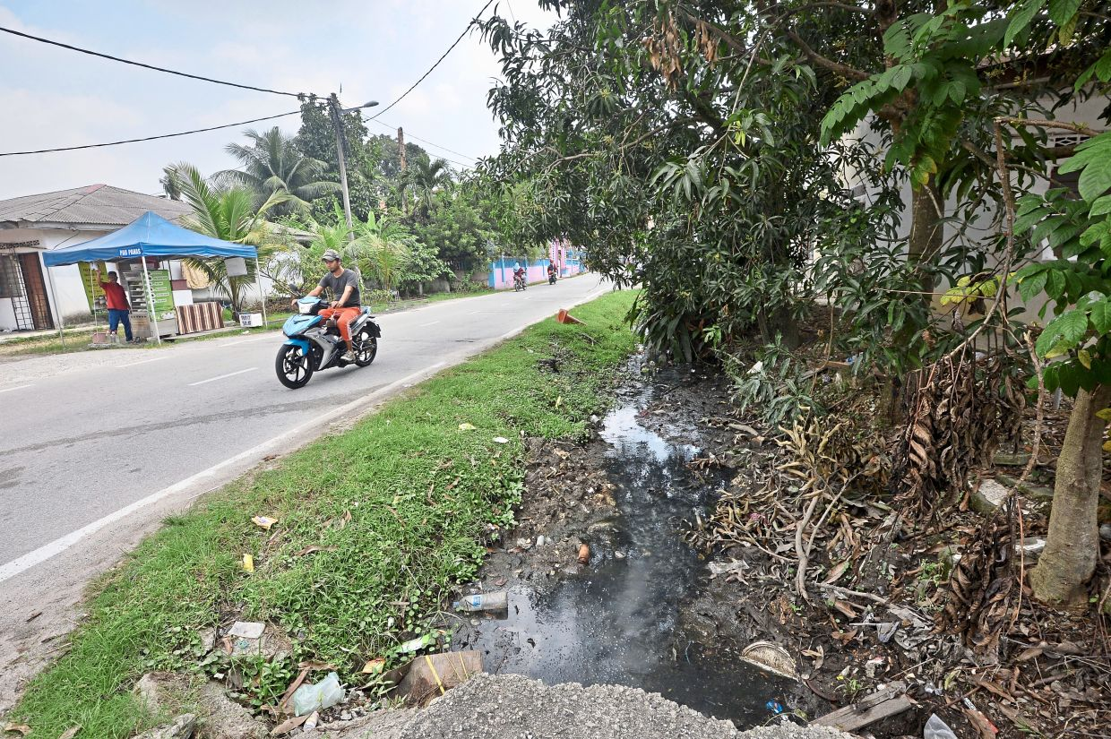 Stagnant water, as seen here in a monsoon drain in Kampung Sri Aman Puchong, is among the reasons for the increase in Selangor's dengue cases. — Filepic