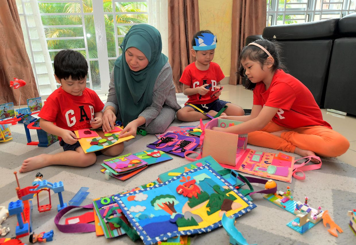 Shahizatul gets feedback from her children when creating new toys.