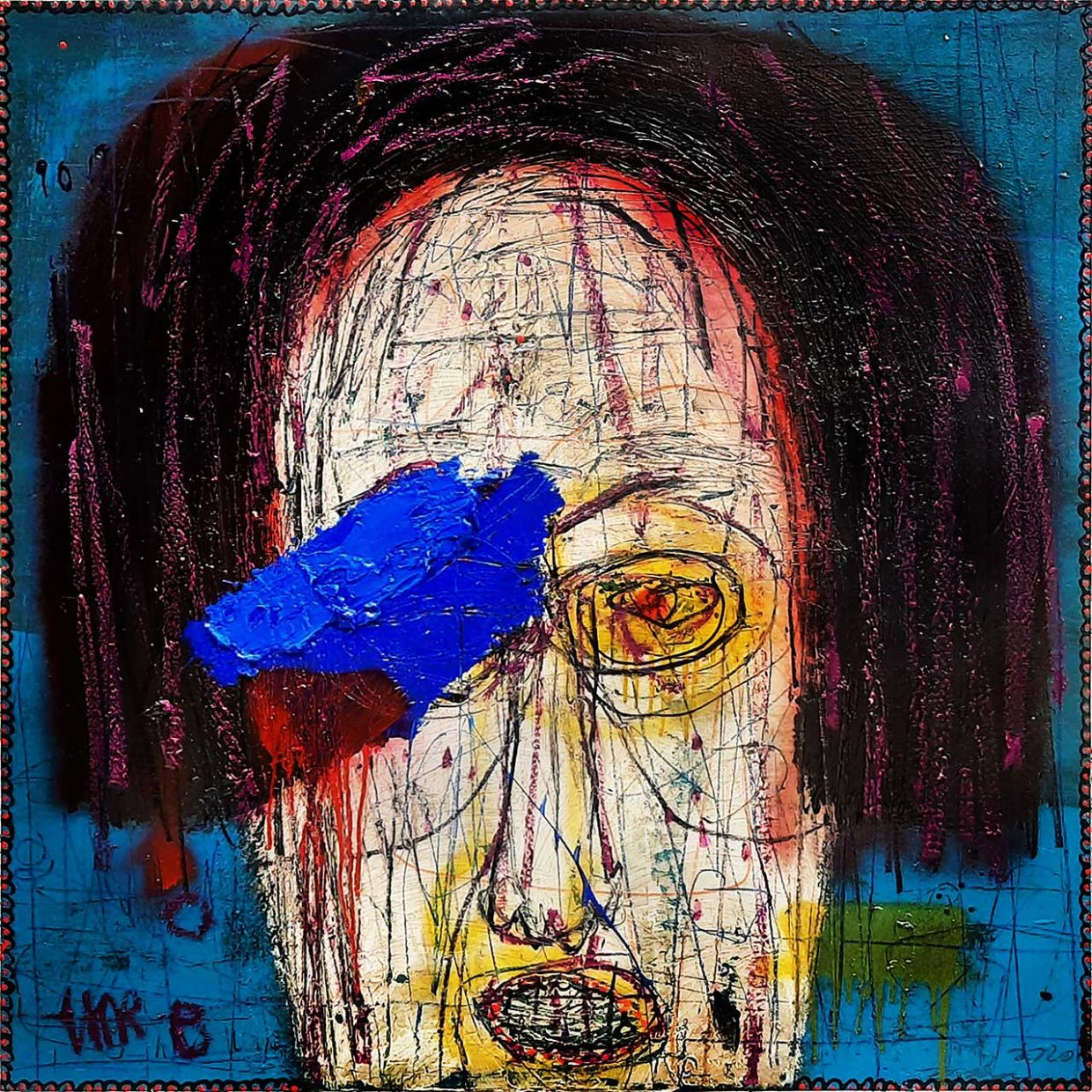 Dedy Sufriadi's 'Mr Q' (acrylic marker, oil stick, pencil and spray paint on canvas, 2020). Photo: Artemis Art
