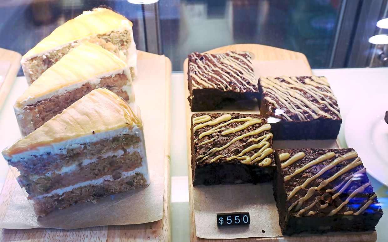 The cafe also serves a variety of desserts such as brownies and cakes.