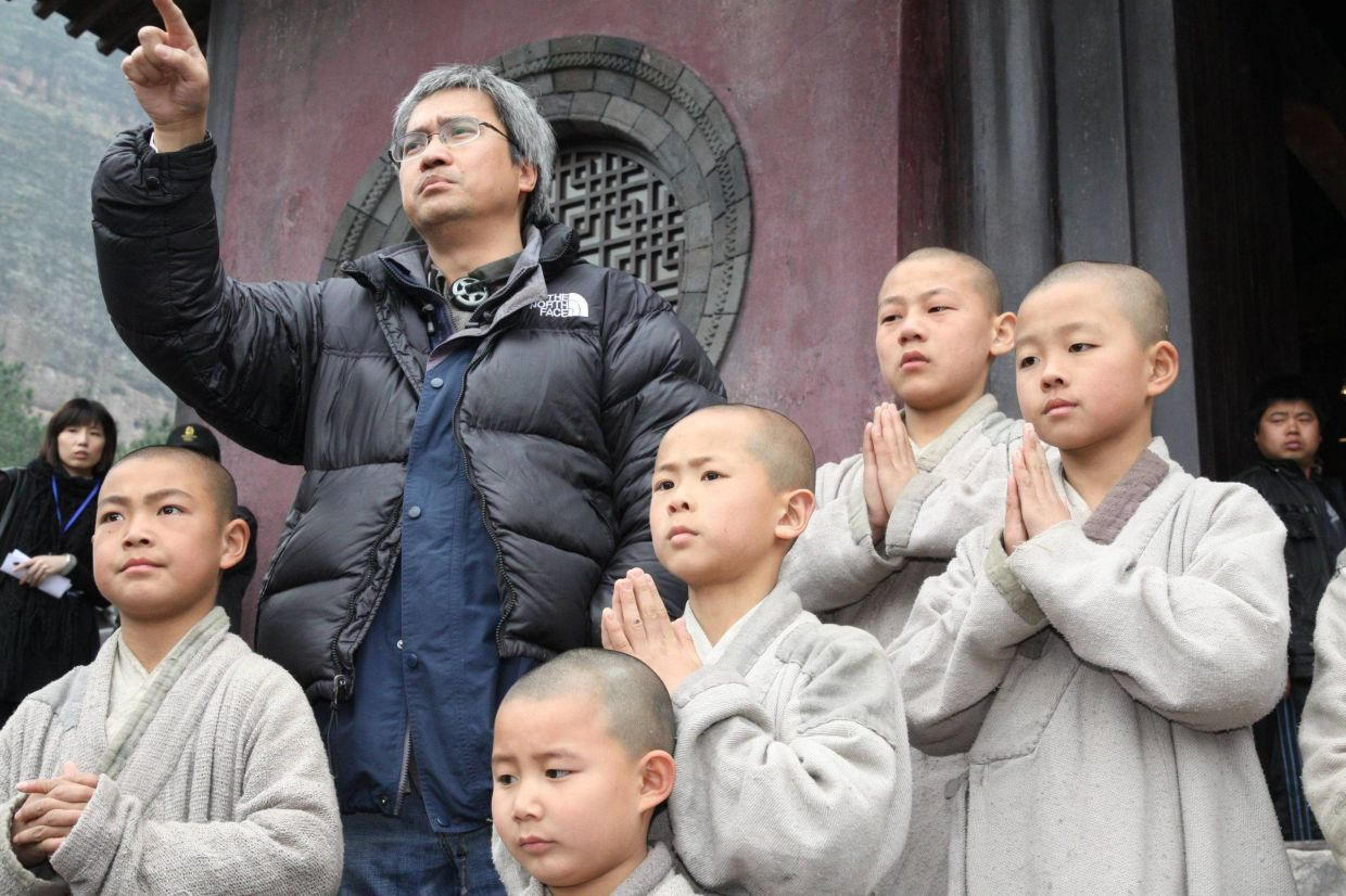 Chan on the set of Shaolin in 2010.