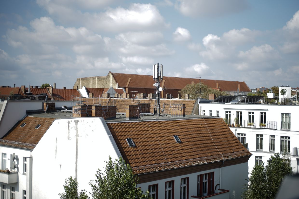A cellular antenna stand on the roof of an apartment building in the residential district Prenzlauer Berg in Berlin, Germany. A recent review by Opensignal, an independent analytics company, ranked Germany 50th out of 100 for availability of the current 4G mobile broadband standard behind India, Indonesia and Kyrgyzstan.