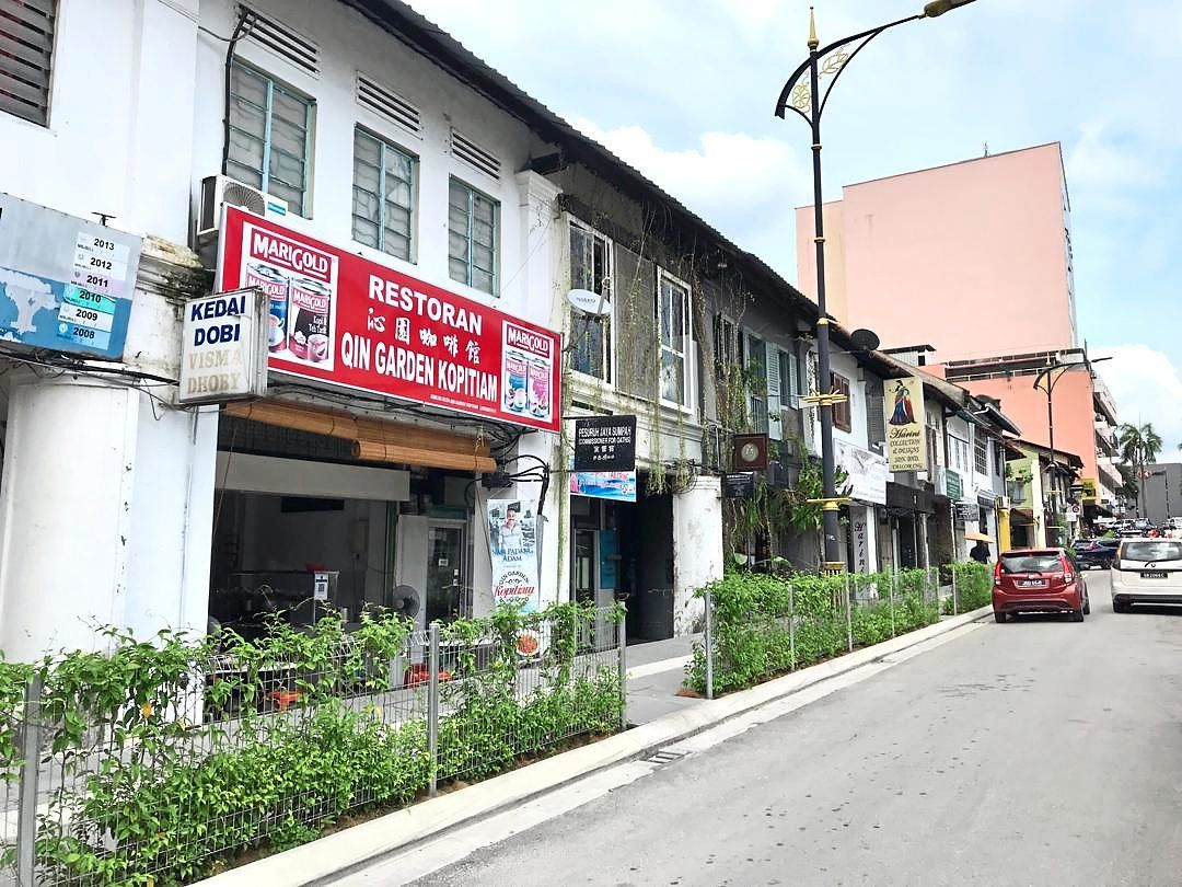The upgraded sidewalk along Jalan Dhoby, part of the city's rejuvenation project, is now a no-parking zone.