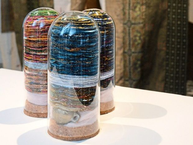 'The Princess and The Pea' has traditional Bidayuh bells and batik remnants in glass jars to symbolise the pressures of adulthood.