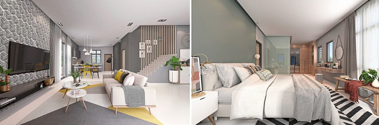 The interior allows you to get creative with your choice of decor, be it the living room (pic left) or bedroom (right).
