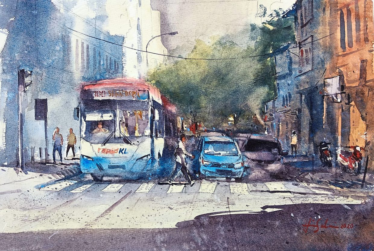 A painting of the streets of downtown Kuala Lumpur.