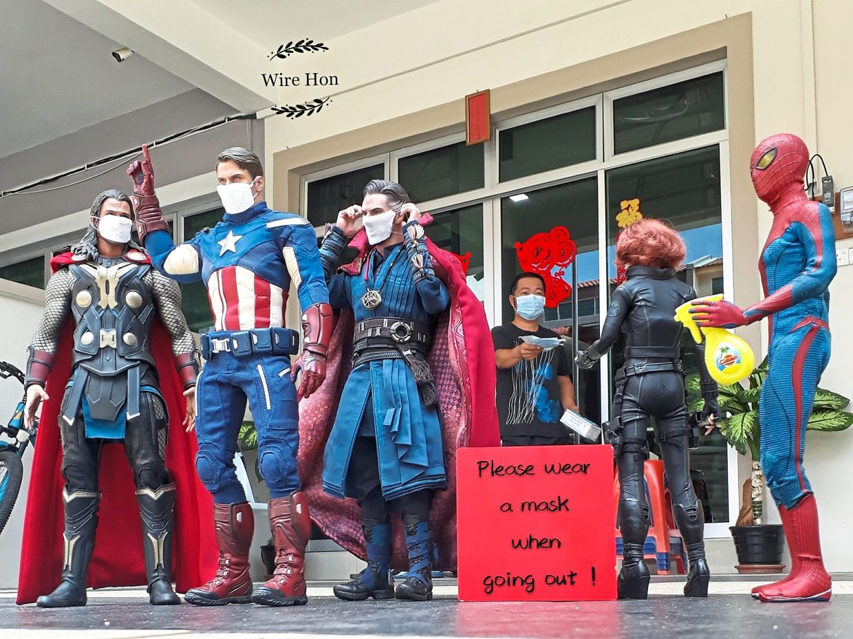 Even superheroes need to wears masks, and not just to protect their secret identities, as Ng shows in his photos during MCO. — NG WIRE HON