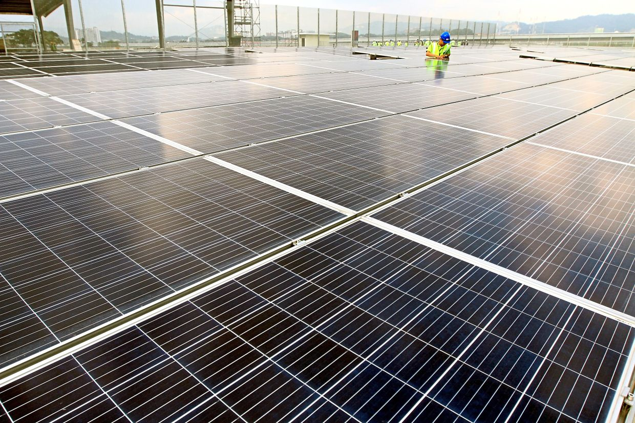 Renewable energy sources – such as solar panels like these at the Langat Centralised Sewage Treatment Plant in Kajang, Selangor – are becoming increasingly cheaper and are more efficient than coal. — Filepic/The Star