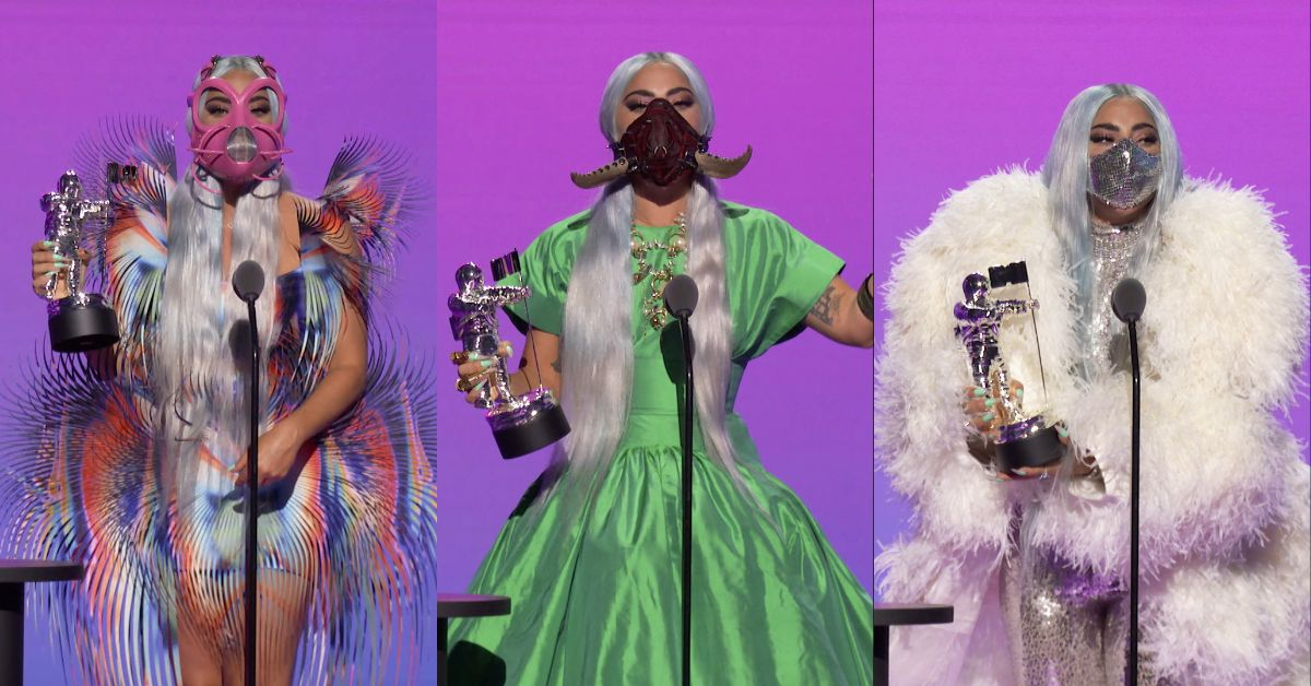 Lady Gaga brought some real fashion drama with each dress change. Photo composite: Reuters