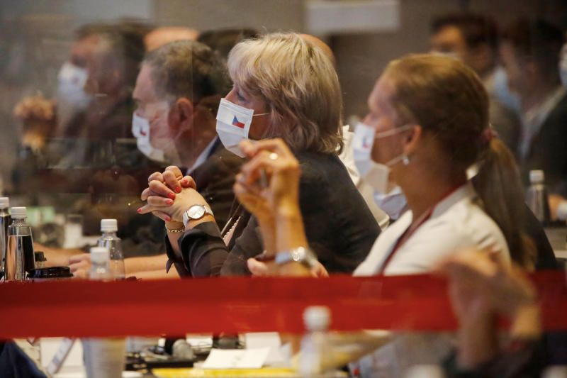Representatives from Czech Republic wearing face masks to prevent the spread of the coronavirus disease during an investment forum in Taipei. - Reuters