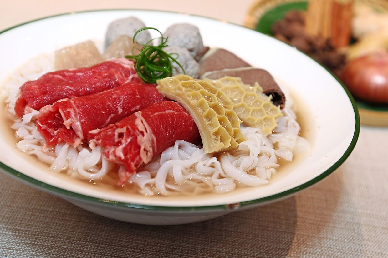 The Vietnamese beef noodle special is served with premium raw beef ribeye slices, beef brisket, tripe, tendon and beef balls.