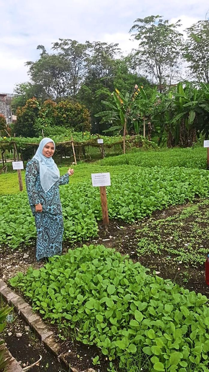 Prof Sumiani showing UM Zero Waste Campaign's organic garden, which is fertilised using compost made from the university's food and garden wastes. This is an example of circular economy.