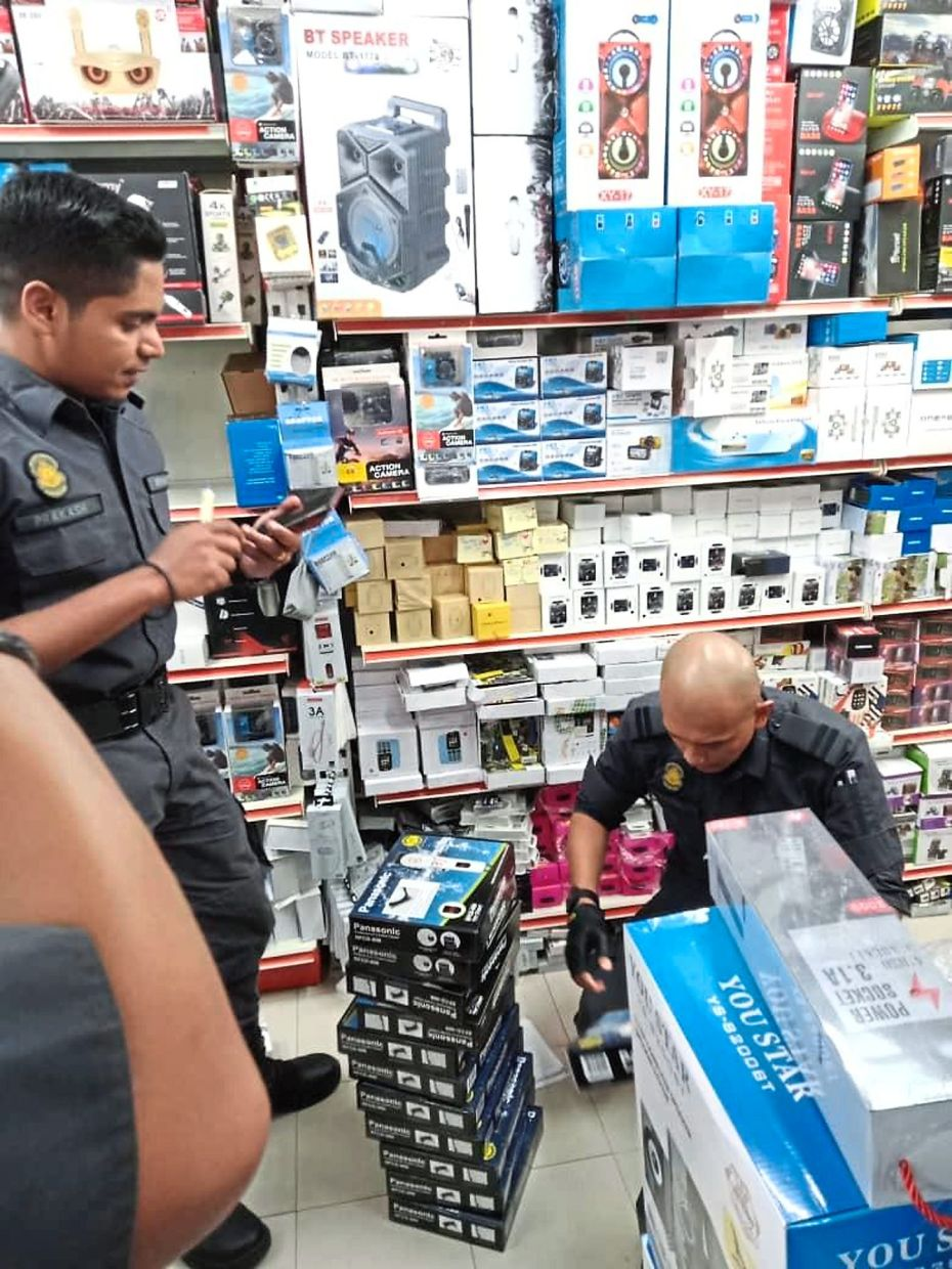An eight-man team from the Domestic Trade and Consumer Affairs Ministry's enforcement division raided two outlets in a Kuala Lumpur mall and seized counterfeit Panasonic products.
