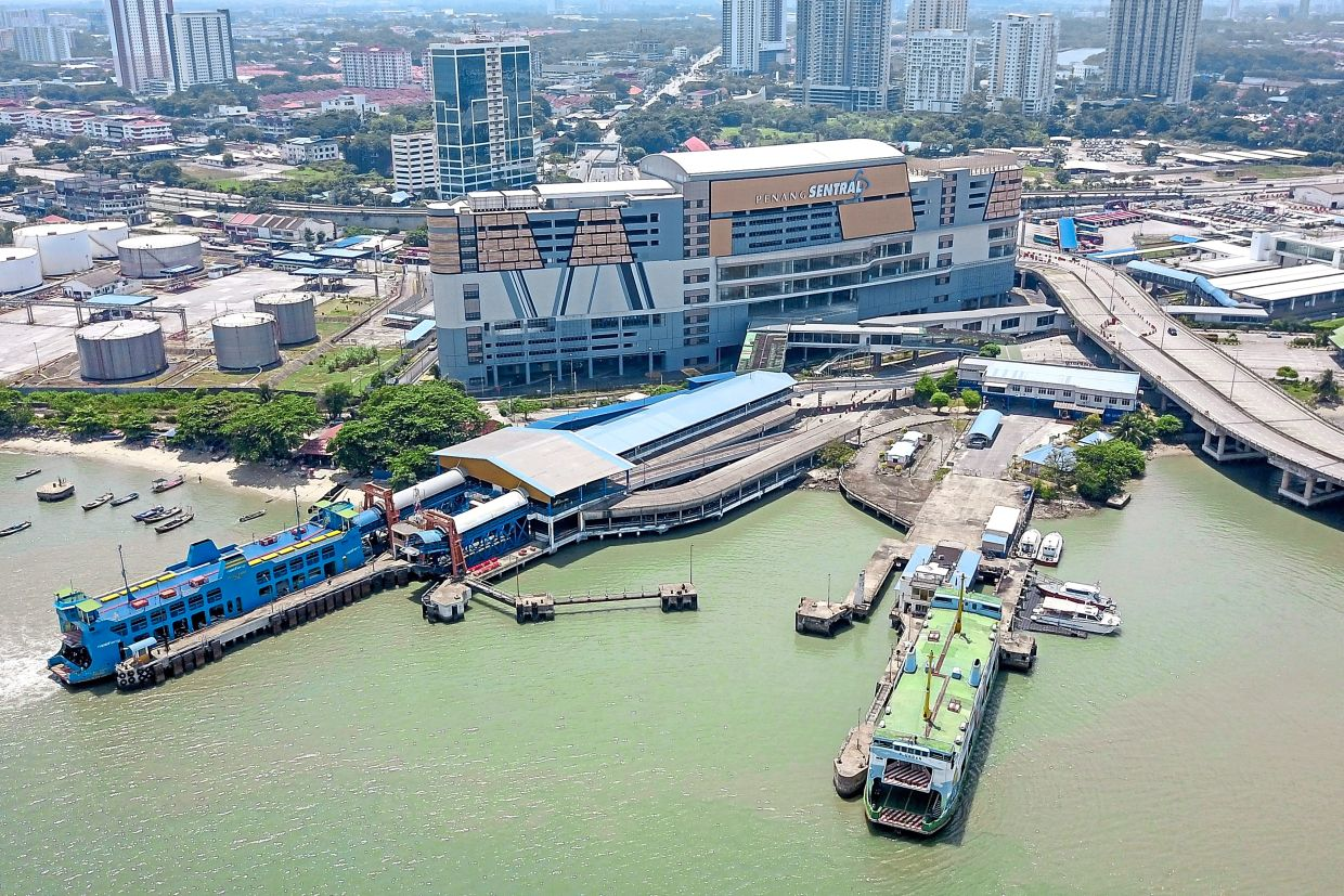 An aerial view of the Pengkalan  Sultan Abdul Halim ferry terminal next to the Penang Sentral transportation hub in Butterworth. — Filepic
