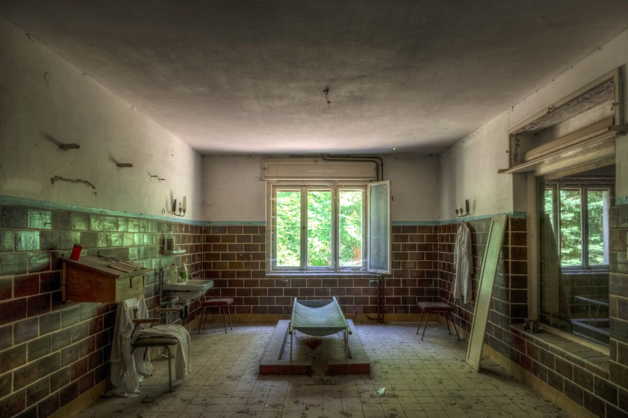 A room in an abandoned mortuary in Germany where deceased people were washed and dressed.