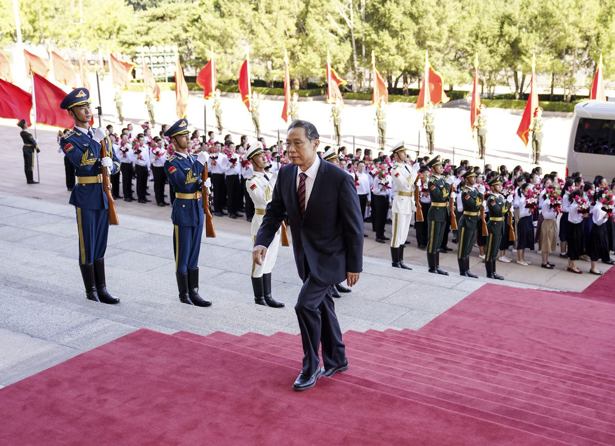 Zhong Nanshan, recipient of the Medal of the Republic, arrives at the Great Hall of the People in Beijing, on Tuesday, Sept 8, 2020. - Xinhua