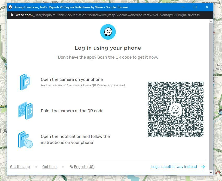 Scan this QR code to start. — Screengrab from Live Map