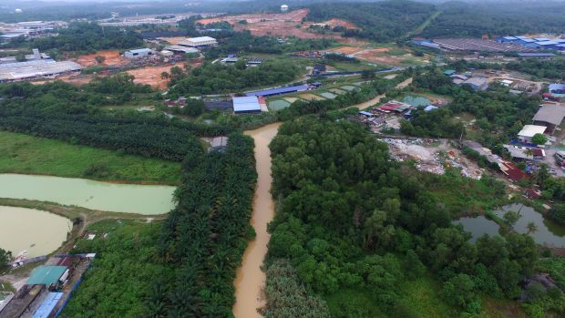 At the source: A drone image of Sungai Gong and its surrounding development in Rawang. The river was polluted by a nearby factory, which caused a major water disruption in the Klang Valley. — FAIHAN GHANI/The Star