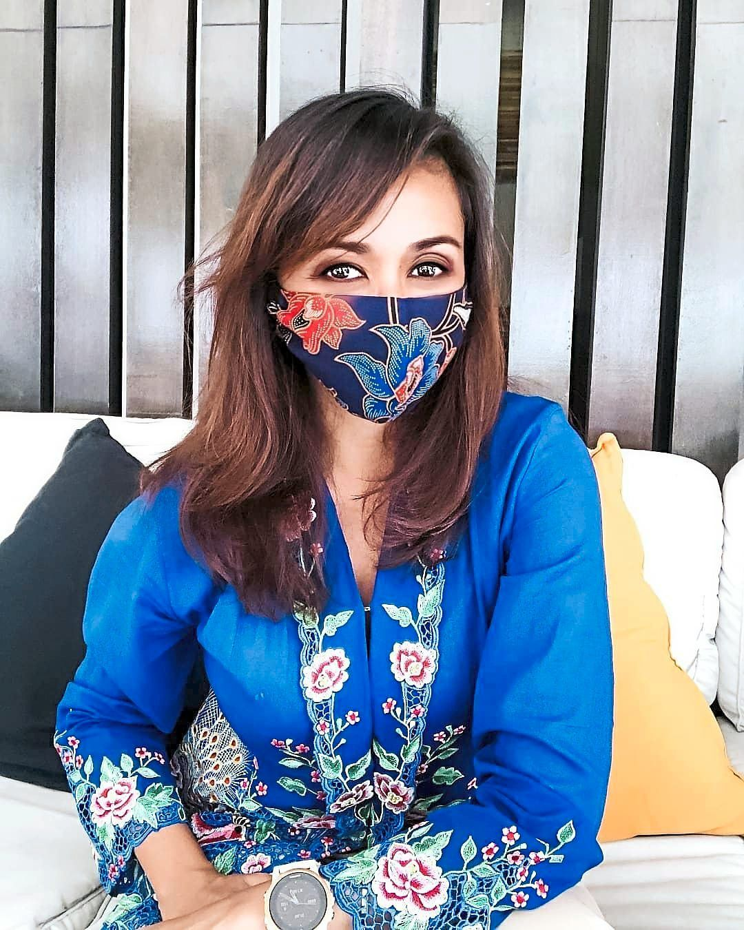 Tengku Zatashah, sporting a face mask made by KTJ, has been very supportive of the social enterprise's work. Photo: Tengku Zatashah Sultan Sharafuddin Idris Shah