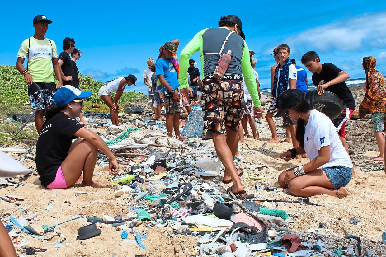 Plastic pollution evident on a beach in Hawaii.