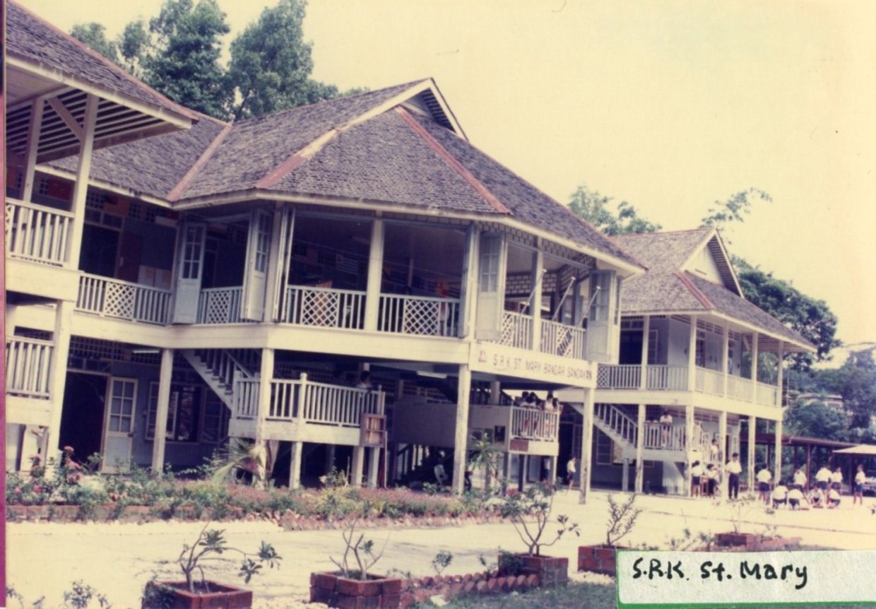 A photograph of SRK St Mary's (school) in Sandakan, Sabah, no date recorded, from the Badan Warisan Malaysia collection.