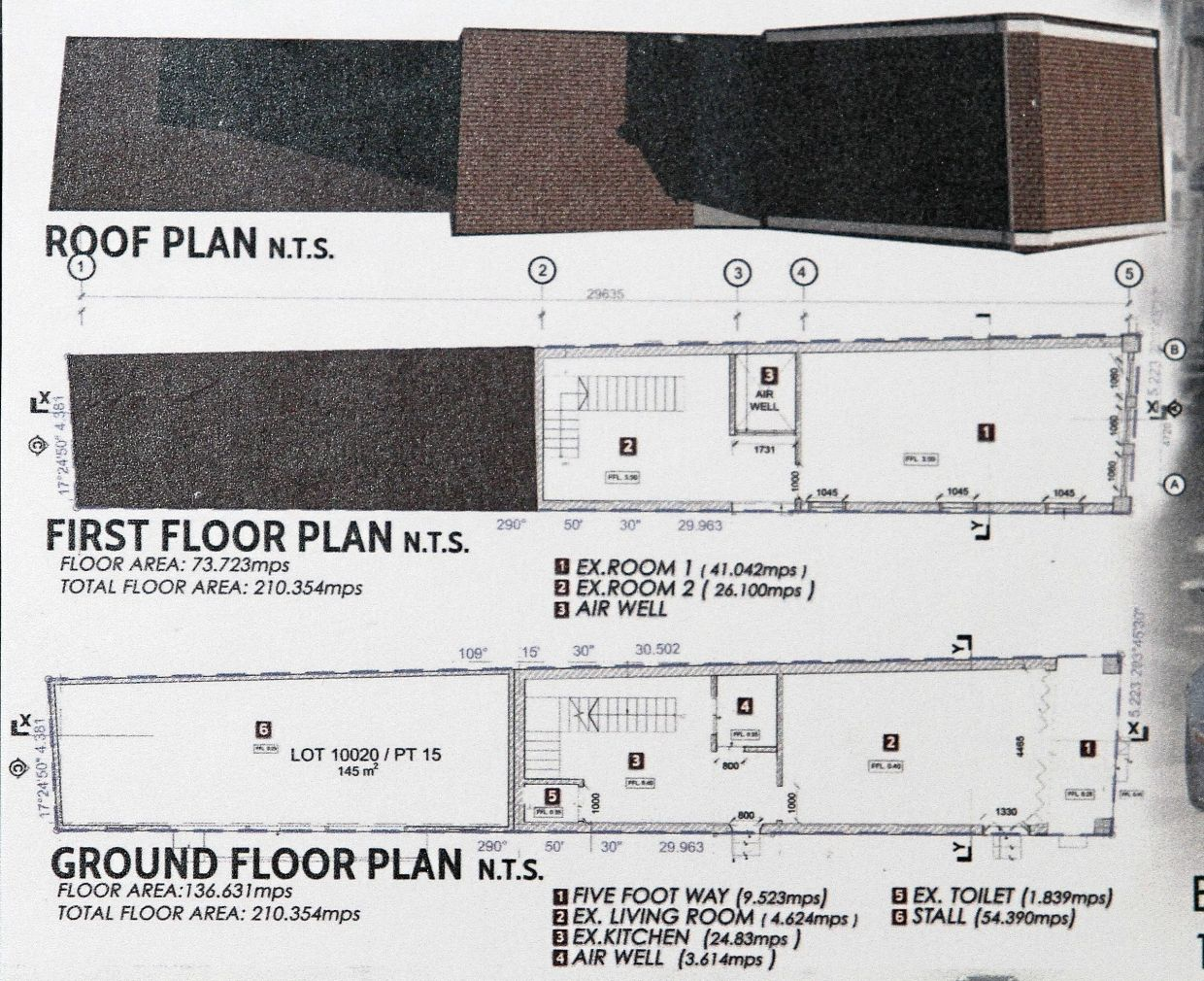 Plans showing the rooms on the ground and first floors and also the shape of the roof of the Love Lane building.