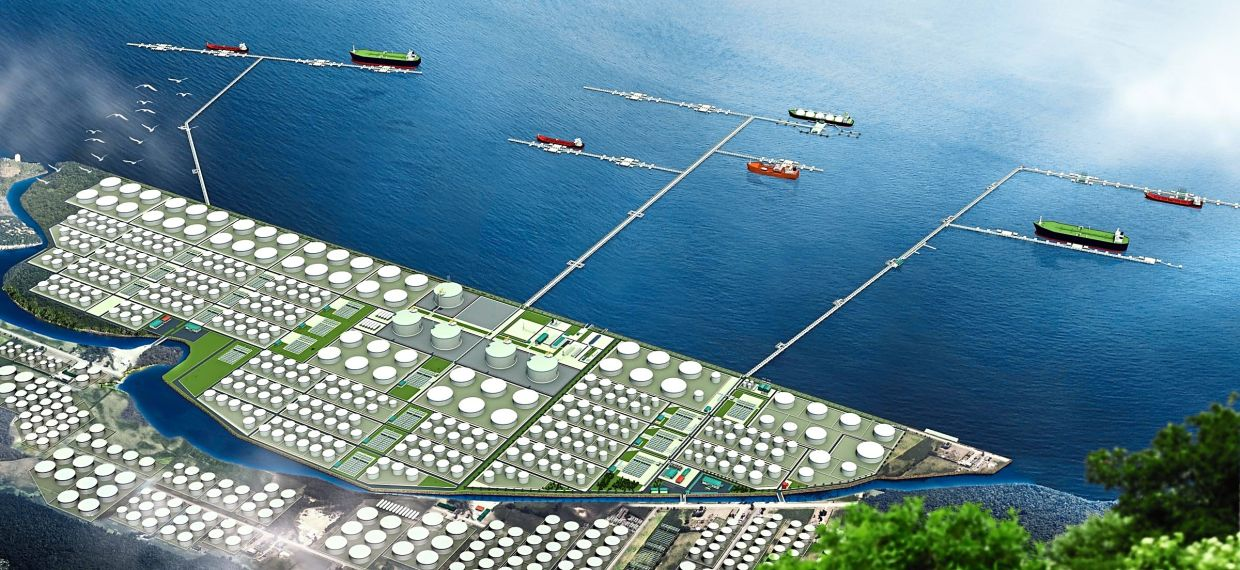 Big plans: An artist's impression of Dialog Group's oil storage terminal in Pengerang. It targets to develop its Pengerang project into an integrated petrochemical hub, akin to Singapore's Jurong.