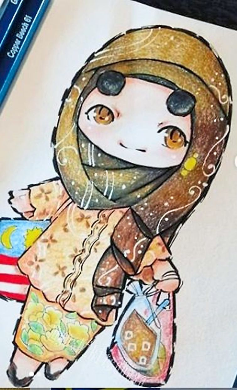 Instagrammer @yoshikitsubasa with a chibi rendition of a female in traditional wear.