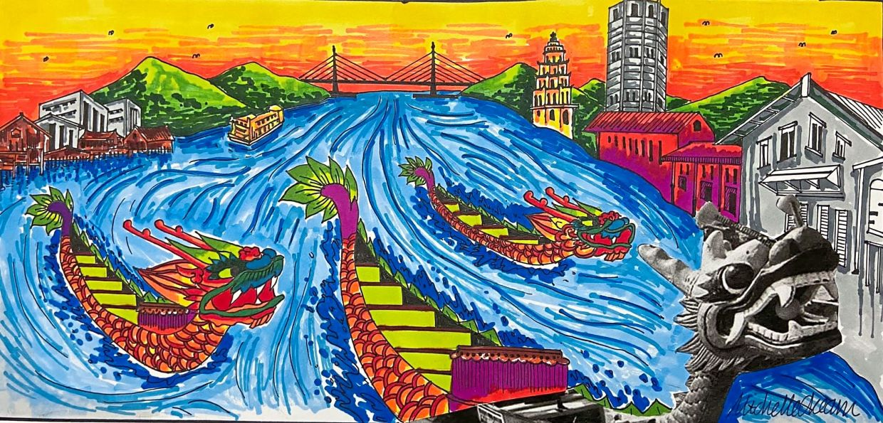 In her Facebook post, Cheam's brightly hued dragon boats float in a Penang river, accented by monochromed dragon heads and the island's famous landmarks.