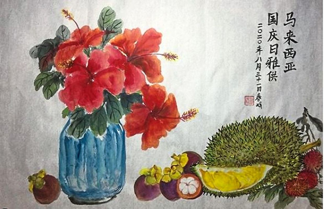Instagrammer @artsterbunny's Chinese brush painting depicting Malaysia's national flower and local fruits.