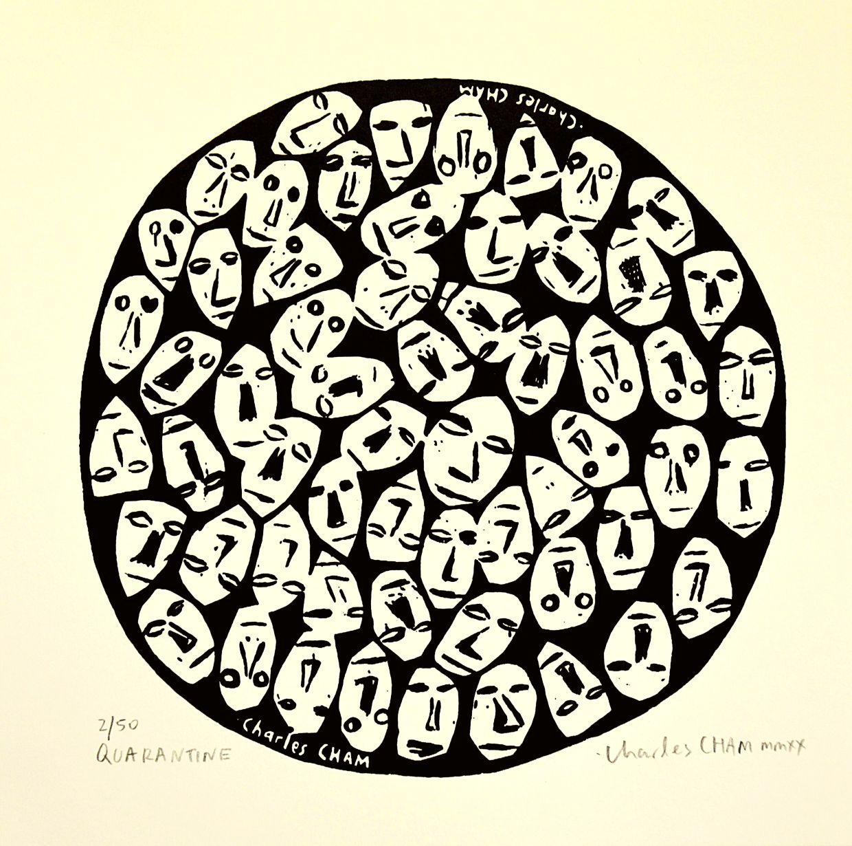 Cham's '#P007 - Quarantine' (silkscreen print on Daler Rowney acid free art paper). Photo: Charles Cham