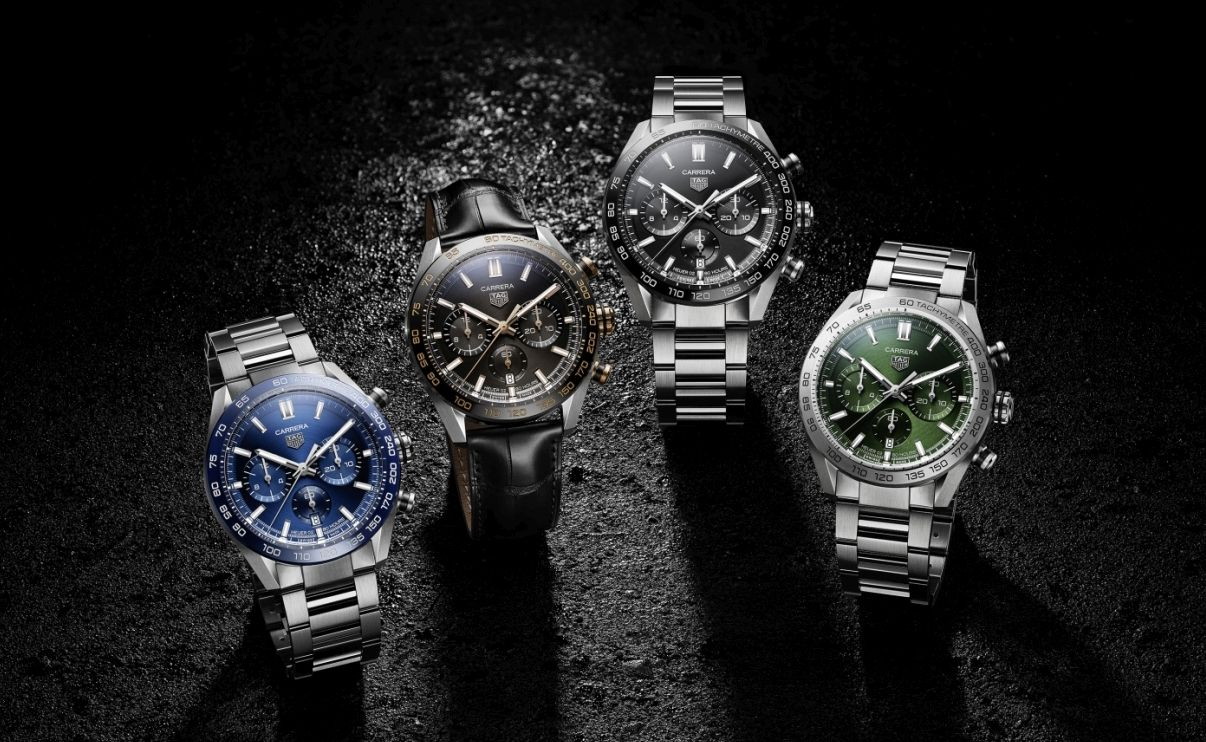 The four new designs in the TAG Heuer Carrera Sport Chronograph collection.