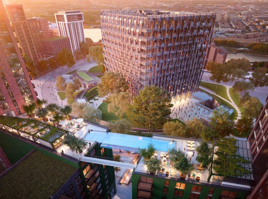 The Sky Pool is suspended 35m up in the air across two residential blocks of condominiums.
