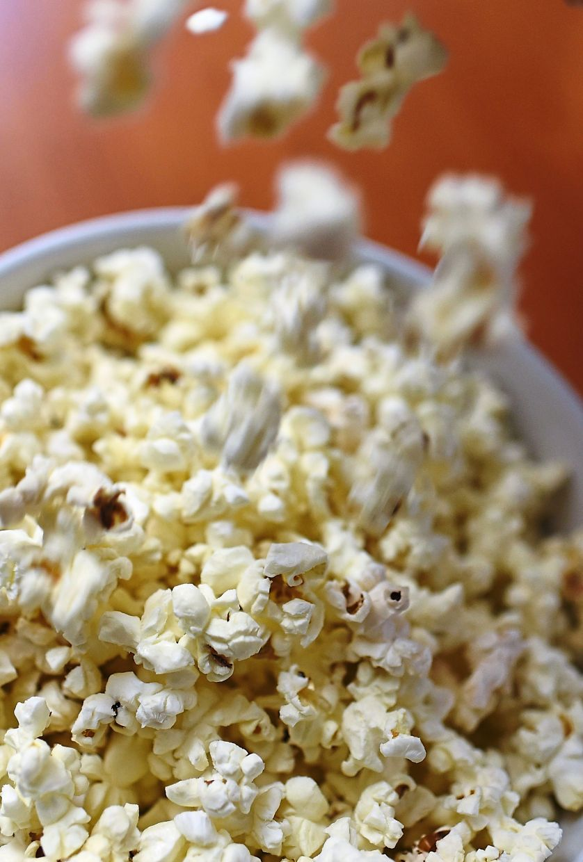 This snack usually associated with movies has lots of fibre and is healthy if eaten plain. — AFP