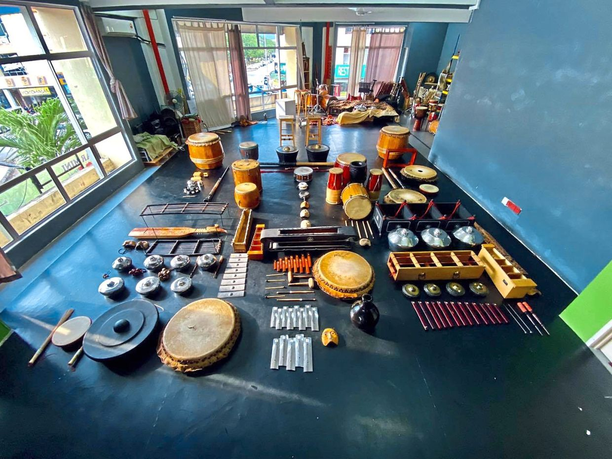 The instruments used on the new album will be exhibited at the Black Box venue. Photo: Orang Orang Drum Theatre