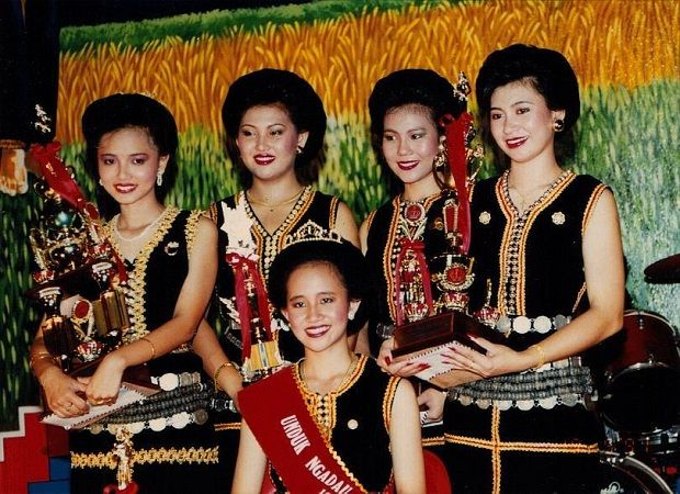 (Left) Chin when she joined the Unduk Ngadau pageant in 1991.
