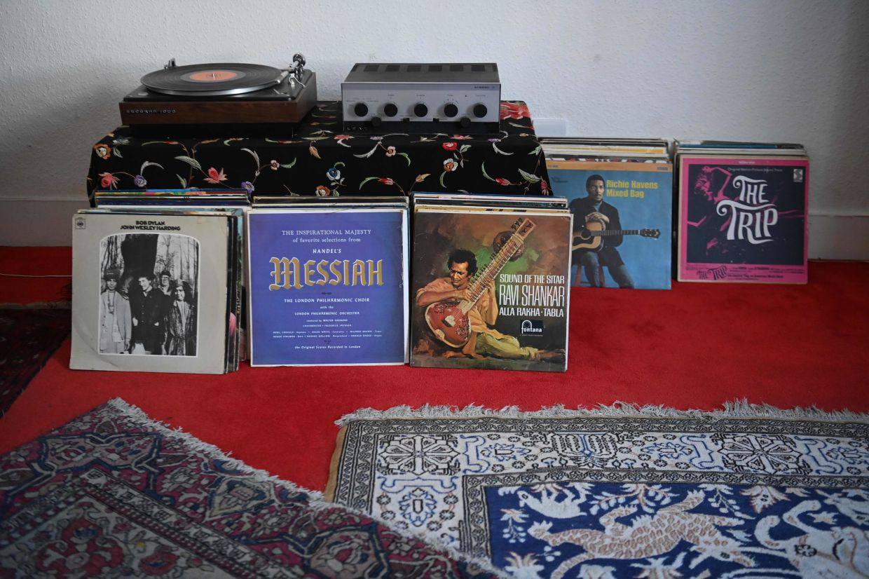 An exhibit of records known to have been in the collection of Jimi Hendrix on display inside the Hendrix Flat. Photo: AFP
