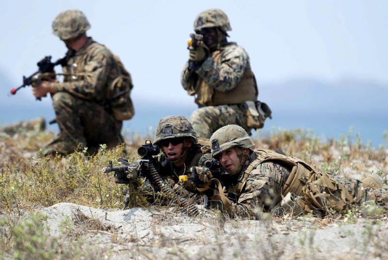 US military forces take up positions during the annual