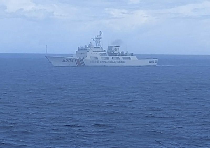This photo released on Sept 15, 2020, by Indonesian Maritime Security Agency (BAKAMLA) shows a Chinese Cost Guard ship sails in North Natuna Sea. An Indonesian patrol ship confronted the Chinese vessel that spent almost three days in waters where Indonesia claims economic rights and that are near the southernmost part of China's disputed South China Sea claims. - AP