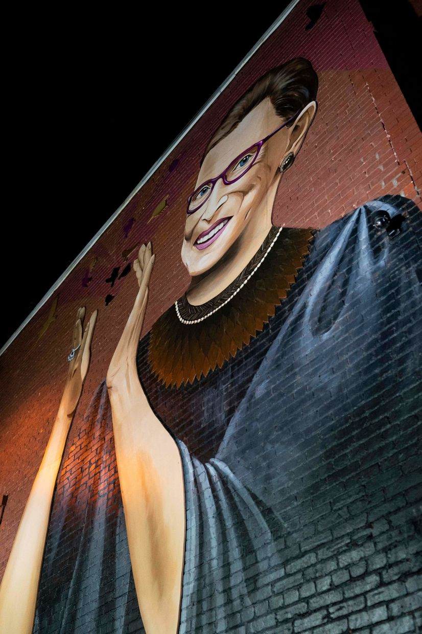 A mural of RBG by artist Rose Jaffe, in Washington, DC. The progressive icon died at the age of 87 after a battle with pancreatic cancer.