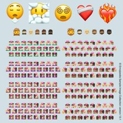 More couples, hearts and bearded figures join the emoji family