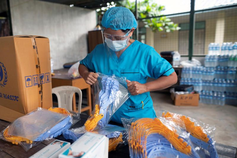 A medical staff member wearing a wearing a protective mask works at a quarantine center, amid the outbreak of the coronavirus disease, in Yangon, Myanmar. - Reuters